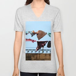 Hanging laundry in blowing wind Unisex V-Neck