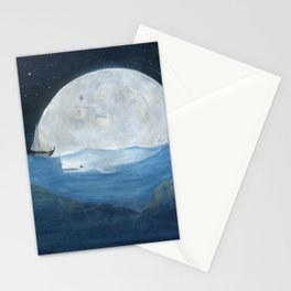 The whale and the Moon Stationery Cards