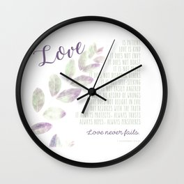 Love Never Fails Wall Clock