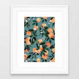 Dear Clementine - oranges teal by Crystal Walen Framed Art Print