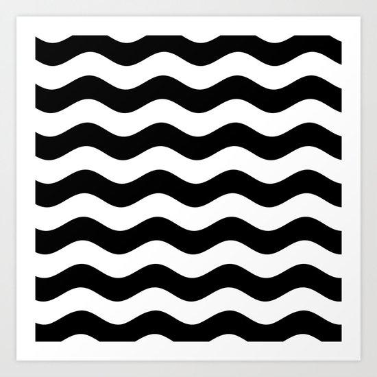 Wavy Stripes (Black/White) Art Print