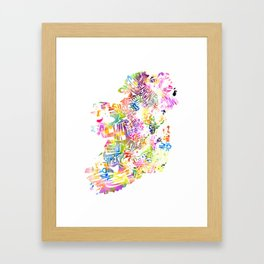 Typographic Ireland - Multi Watercolor rainbow map Framed Art Print