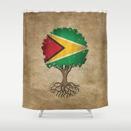 Vintage Tree of Life with Flag of Guyana Shower Curtain