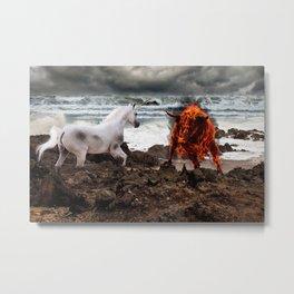 The Unicorn vs the Fire Bull Metal Print