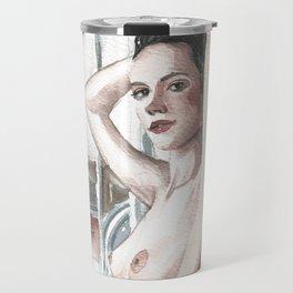 Original erotic watercolor painting NUDE GIRL POSING Waves Travel Mug