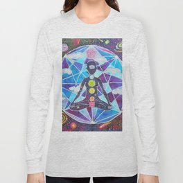 Meditation Chakra Space Tapestry Rainbow Galaxy Psychedelic Painting Art (Intergalactic Beings) Long Sleeve T-shirt