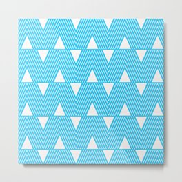 Triangles- Teal Triangle Pattern for hot summer days - Mix & Match Metal Print