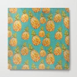 Summer pineapple fruit holiday fun pattern Metal Print