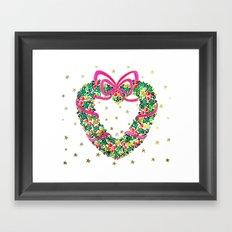 Xmas Heart Wreath Framed Art Print