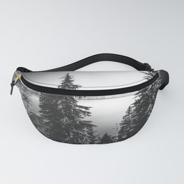 Mountain Lake Forest Black and White Nature Photography Fanny Pack