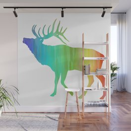 Rainbow Watercolor Dripping Elk II Wall Mural