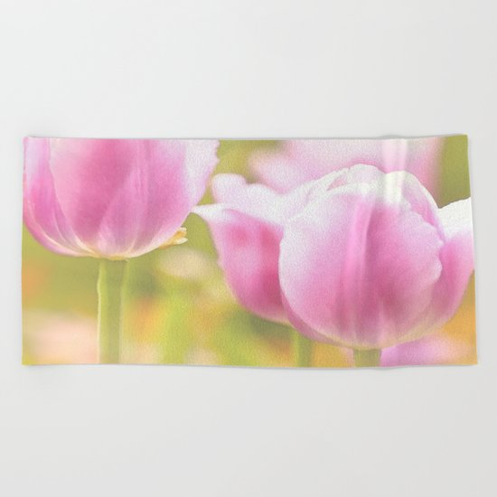 Spring is here with wonderful  colors - close-up of tulips flowers Beach Towel