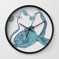 octopus Wall Clocks featuring Octopus ! by Clare Corfield Carr