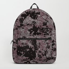 Silver Frost, Eggplant and Black Ice Abstract Pattern Backpack