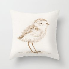 Piping Plover Chick Throw Pillow