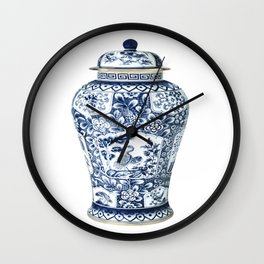 Blue & White Chinoiserie Cranes Porcelain Ginger Jar Wall Clock