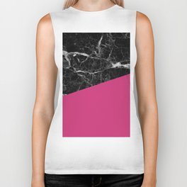 Black Marble and Pink Yarrow Color Biker Tank