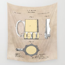 patent Beer Mugs Wall Tapestry