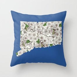 Connecticut in Flowers Throw Pillow