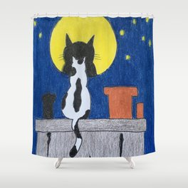 Cat under the moon Shower Curtain