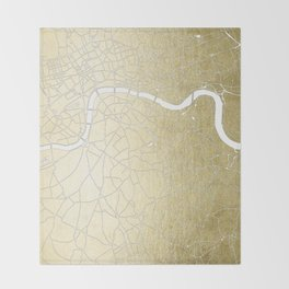 Gold on White London Street Map II Throw Blanket