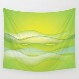 abstract green waves Wall Tapestry