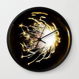 Yellow Glitter Firework In Sphere Wall Clock