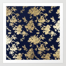 Elegant vintage navy blue faux gold flowers Art Print
