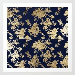 Elegant vintage navy blue faux gold flowers Kunstdrucke