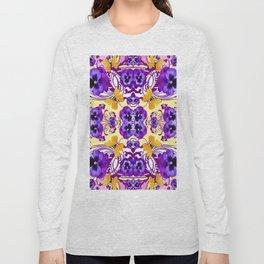 GOLDEN BUTTERFLIES & PURPLE PANSY FLOWERS Long Sleeve T-shirt