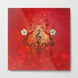 Music, clef with decorative floral elements Metal Print