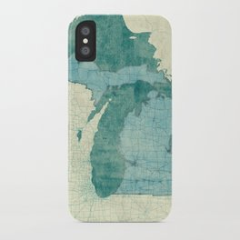 Michigan State Map Blue Vintage iPhone Case