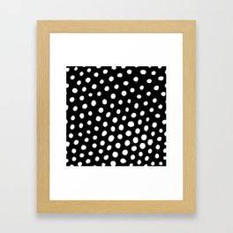 White Dots with Black Background Framed Art Print