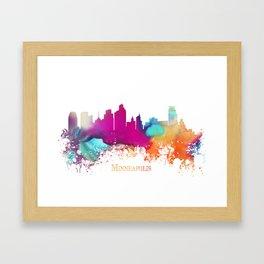 Minneapolis skyline watercolor Framed Art Print