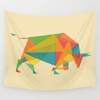 indonesia Wall Tapestries featuring Fractal Geometric Bull by Picomodi