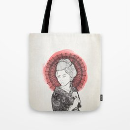 Japanese flag and Geisha Tote Bag