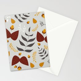 Autumn leaves and acorns - grey, brown and ochre Stationery Cards