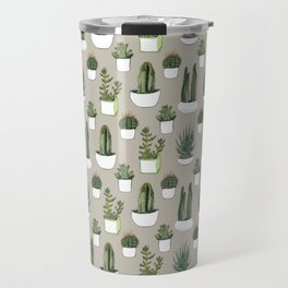 Watercolour cacti & succulents - Beige Travel Mug