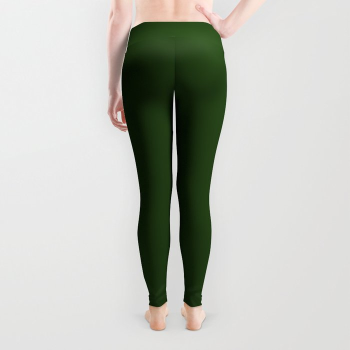 Solid Dark Forest Green Simple Solid Color All Over Print Leggings