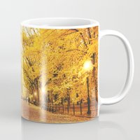 literary Mugs featuring New York City Autumn by Vivienne Gucwa