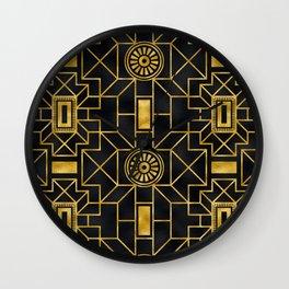 24-Karat Elegant Gold and Black Art Deco Design Wall Clock