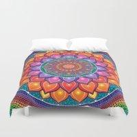 samsung Duvet Covers featuring Lotus Rainbow Mandala by Elspeth McLean