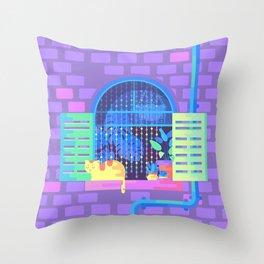Windowsill Basking Throw Pillow
