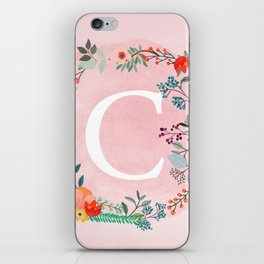 Flower Wreath with Personalized Monogram Initial Letter C on Pink Watercolor Paper Texture Artwork iPhone Skin
