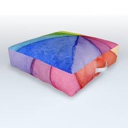 Rainbow Watercolor Geometric Pattern Outdoor Floor Cushion