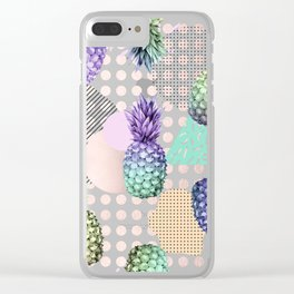 Pineapple Summer Rainbow Rose Gold Clear iPhone Case