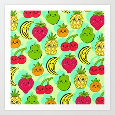 Kawaii Fruits Art Print