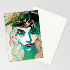 floral girl illustration Stationery Cards
