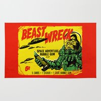 50s Area & Throw Rugs featuring BEASTWRECK ATTACKS! by BeastWreck