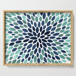 Flower Bloom, Aqua and Navy Serving Tray
